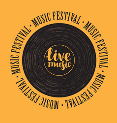 banner with vinyl record and lettering live music vector image vector image