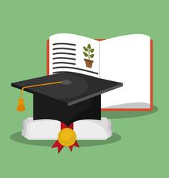 biology book certificate graduation hat vector image