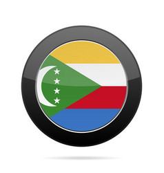 flag of comoros shiny black round button vector image
