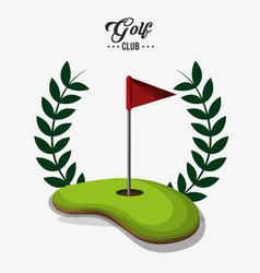 golf club red flag field label vector image