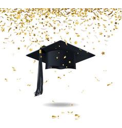 graduate cap and confetti vector image