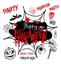 Halloween party Happy Halloween message design vector image vector image