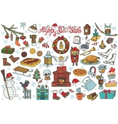 New year season doodle iconssymbolsColored vector image vector image
