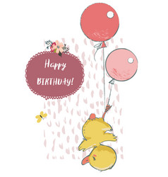 cute duck with balloons vector image vector image