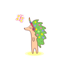 girl hedgehog with flowers on the skin walking and vector image