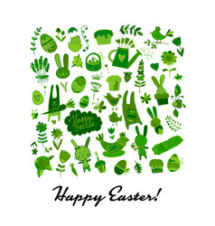 Happy easter icons collection for your design vector