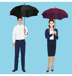 Men and woman with umbrella isolated concept vector image