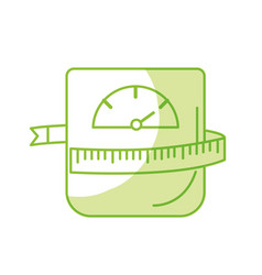 Silhouette weight machine with measuring to have vector