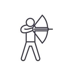 archery flat line concept vector image