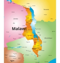 color map of Malawi country vector image vector image