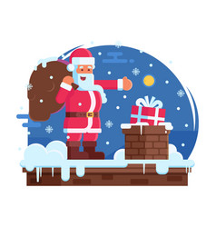 happy santa claus and roof chimney vector image