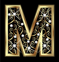 M gold letter with swirly ornaments vector image vector image