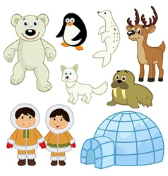 set of isolated animals and people in the Arctic vector image vector image