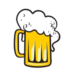 Tankard of beer with a frothy head vector image