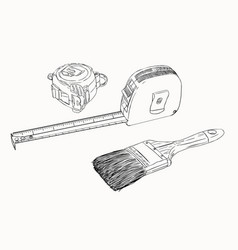 tape measure and paint brush tools set sketch vector image