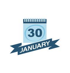 30 january calendar with ribbon vector