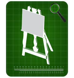 3d model of easel on a green vector