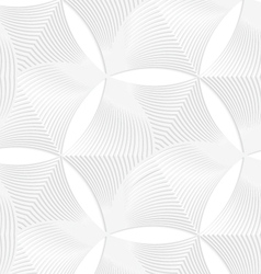 3D white striped puckered hexagons vector
