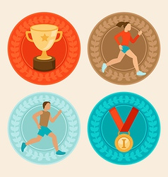 achievement badges in flat style vector image