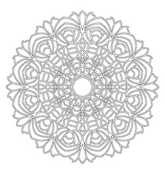 Adult coloring book flowers mandala black and vector