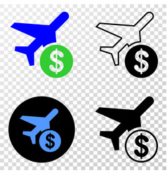 airplane price eps icon with contour vector image