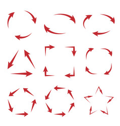arrows cycle diagram in different shapes vector image