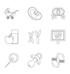 Babby clinic icons set outline style vector