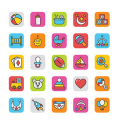 Baby and kids colored icons 1 vector