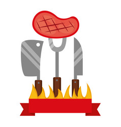 barbecue steak knife fork and meat cleaver vector image