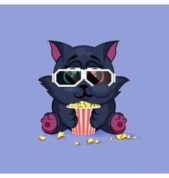 Black cat watching a movie vector image