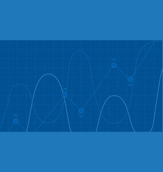 blue grid background with abstract graph waves of vector image