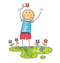 boy with flower on his hand vector image