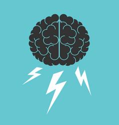 Brain lightnings brainstorming vector