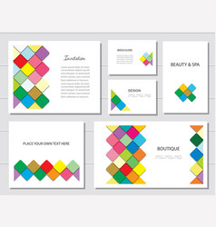 Brochures flyers and business card templates set vector