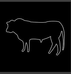bull white color path icon vector image