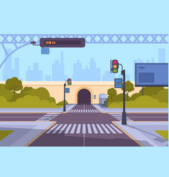 Cartoon crosswalk city streets intersections with vector