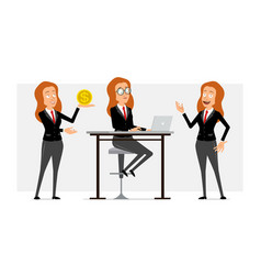 Cartoon flat funny business woman character set vector