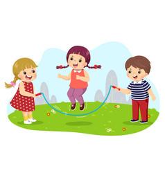 cartoon kids jumping rope vector image