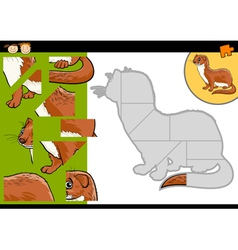 cartoon weasel jigsaw puzzle game vector image