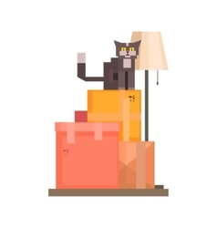 Cat Sitting On Boxes vector