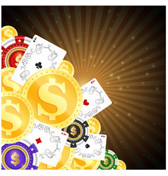 chips playing cards and gold coins for gambling vector image