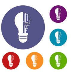 Circuit board inside light bulb icons set vector