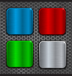 Colored metal brushed square plates on perforation vector
