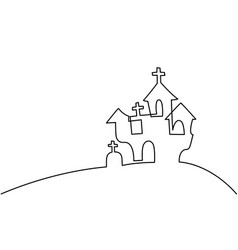 Continuous line drawing of black halloween manor vector