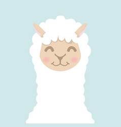 cute alpaca fluffy head face vector image