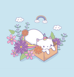 cute caticorn with floral decoration in carton box vector image