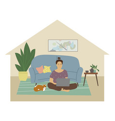 cute young woman sitting on floor with laptop vector image