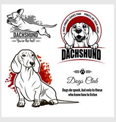 dachshund - set for t-shirt logo vector image