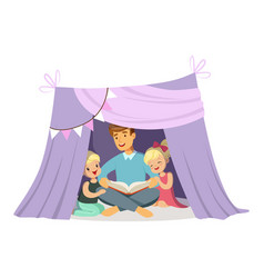 dad reading a book to her children while sitting vector image