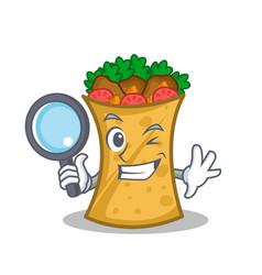 Detective kebab wrap character cartoon vector